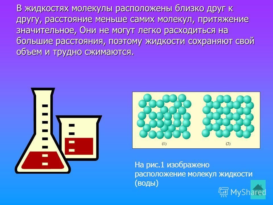 В жидкостях молекулы расположены близко друг к другу, расстояние меньше самих молекул, притяжение значительное, Они не могут легко расходиться на большие расстояния, поэтому жидкости сохраняют свой объем и трудно сжимаются. На рис.1 изображено распол