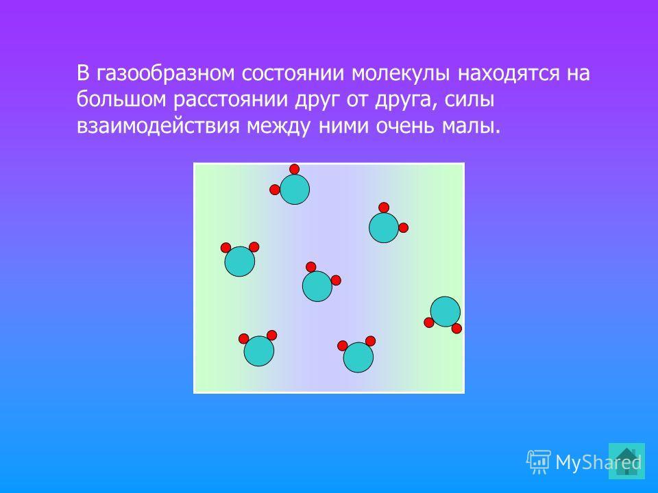 В газообразном состоянии молекулы находятся на большом расстоянии друг от друга, силы взаимодействия между ними очень малы.