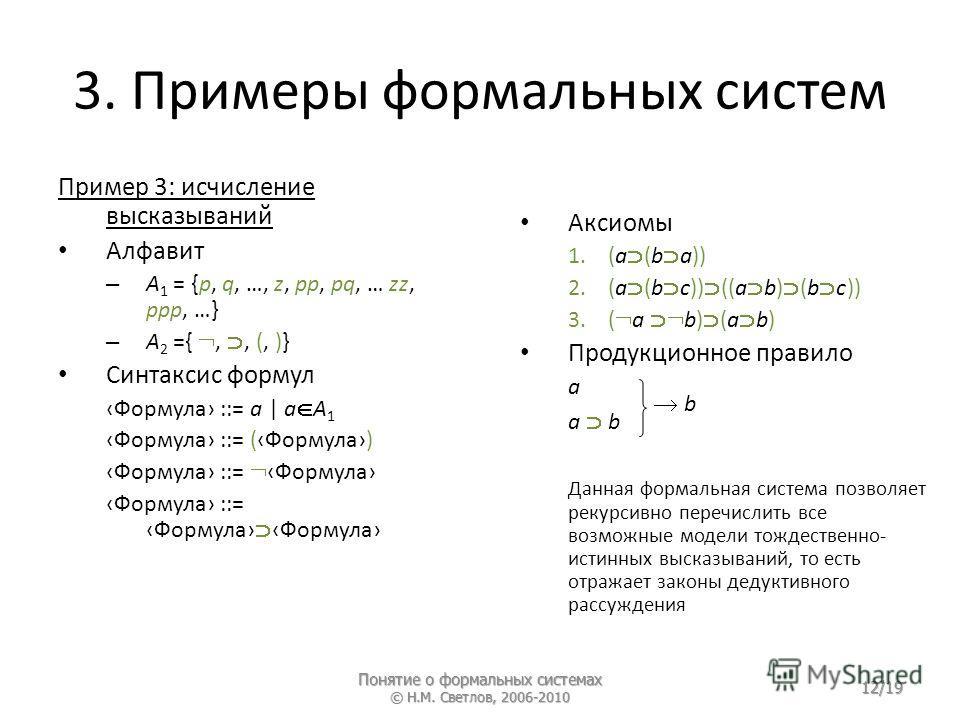 3. Примеры формальных систем Пример 3: исчисление высказываний Алфавит – A 1 = {p, q, …, z, pp, рq, … zz, ppp, …} – A 2 ={,, (, )} Синтаксис формул Формула ::= a | a A 1 Формула ::= (Формула) Формула ::= Формула Формула ::= Формула Формула Аксиомы 1.