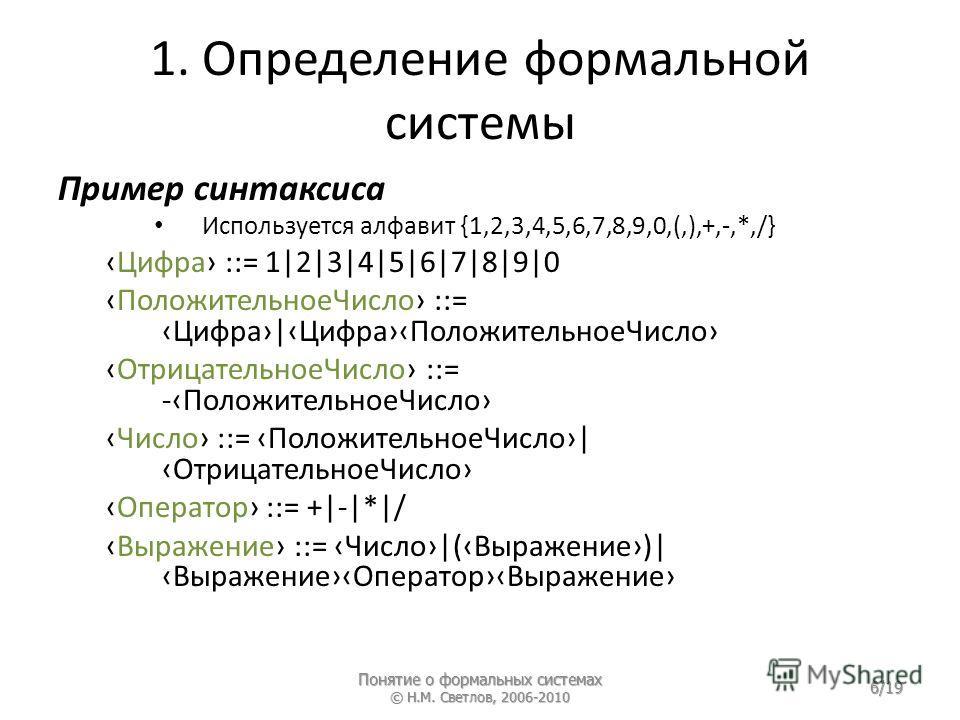 1. Определение формальной системы Пример синтаксиса Используется алфавит {1,2,3,4,5,6,7,8,9,0,(,),+,-,*,/} Цифра ::= 1|2|3|4|5|6|7|8|9|0 ПоложительноеЧисло ::= Цифра|ЦифраПоложительноеЧисло ОтрицательноеЧисло ::= -ПоложительноеЧисло Число ::= Положит