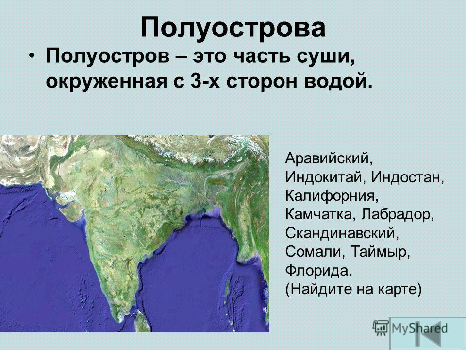 Полуострова Полуостров – это часть суши, окруженная с 3-х сторон водой. Аравийский, Индокитай, Индостан, Калифорния, Камчатка, Лабрадор, Скандинавский, Сомали, Таймыр, Флорида. (Найдите на карте)