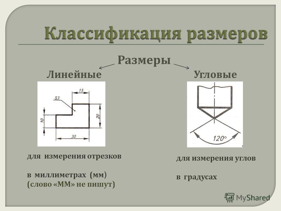 Размеры ЛинейныеУгловые для измерения отрезков в миллиметрах ( мм ) ( слово « ММ » не пишут ) для измерения углов в градусах