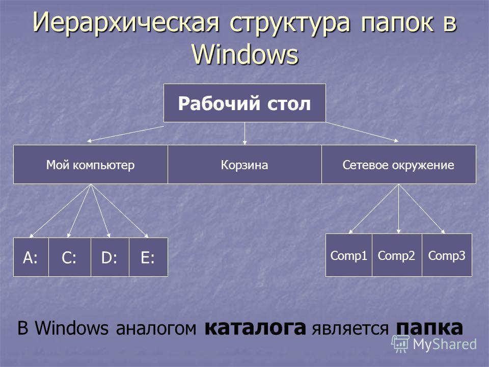Иерархическая структура папок в Windows Рабочий стол Мой компьютерКорзинаСетевое окружение А:С:D:E: Comp1Comp2Comp3 В Windows аналогом каталога является папка