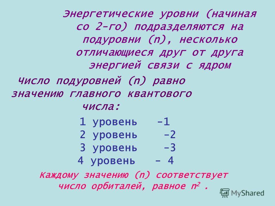 Энергетические уровни (начиная со 2-го) подразделяются на подуровни (n), несколько отличающиеся друг от друга энергией связи с ядром Число подуровней (n) равно значению главного квантового числа: 1 уровень -1 2 уровень -2 3 уровень -3 4 уровень - 4 К