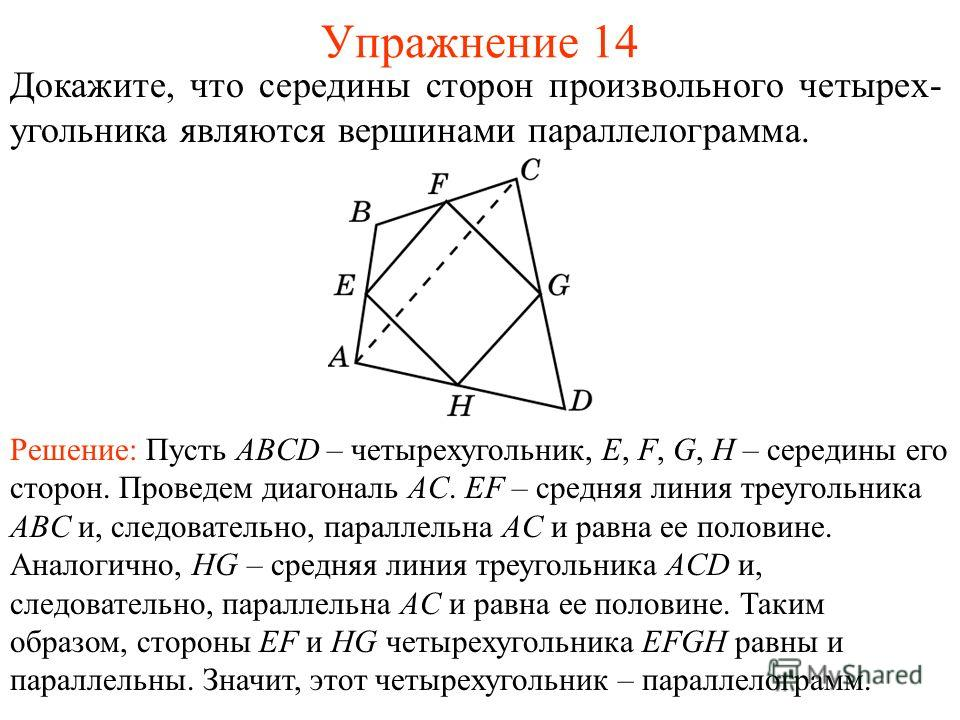 Упражнение 14 Докажите, что середины сторон произвольного четырех- угольника являются вершинами параллелограмма. Решение: Пусть ABCD – четырехугольник, E, F, G, H – середины его сторон. Проведем диагональ AC. EF – средняя линия треугольника ABC и, сл
