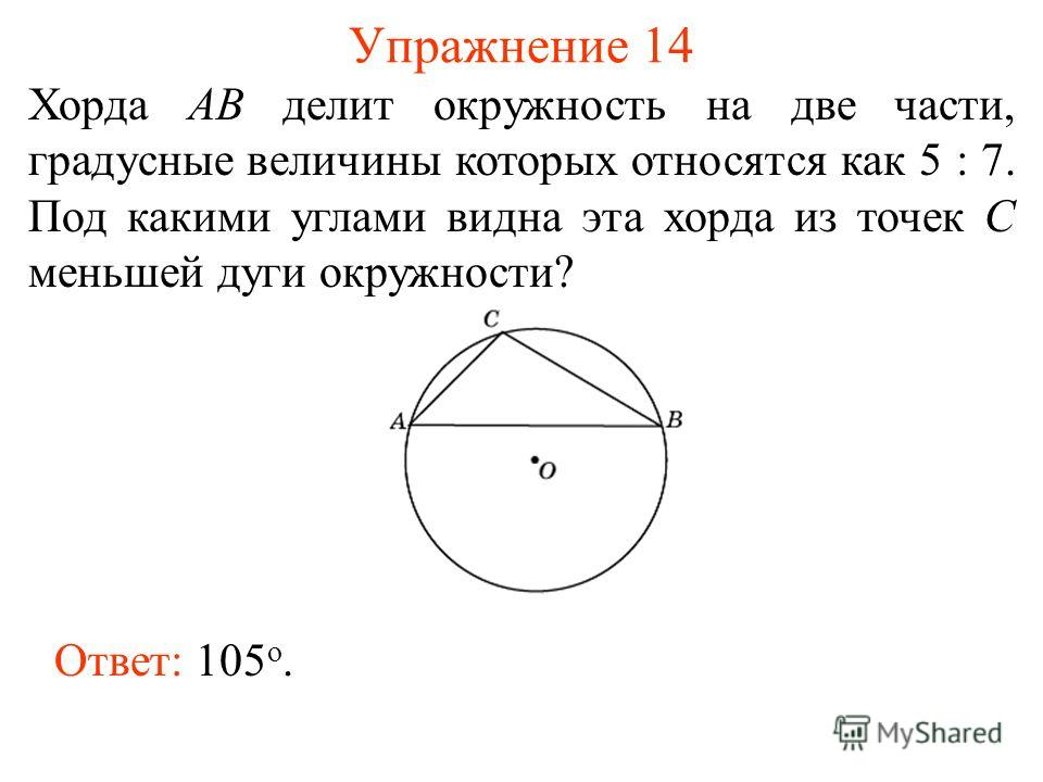 Упражнение 14 Хорда AB делит окружность на две части, градусные величины которых относятся как 5 : 7. Под какими углами видна эта хорда из точек C меньшей дуги окружности? Ответ: 105 о.