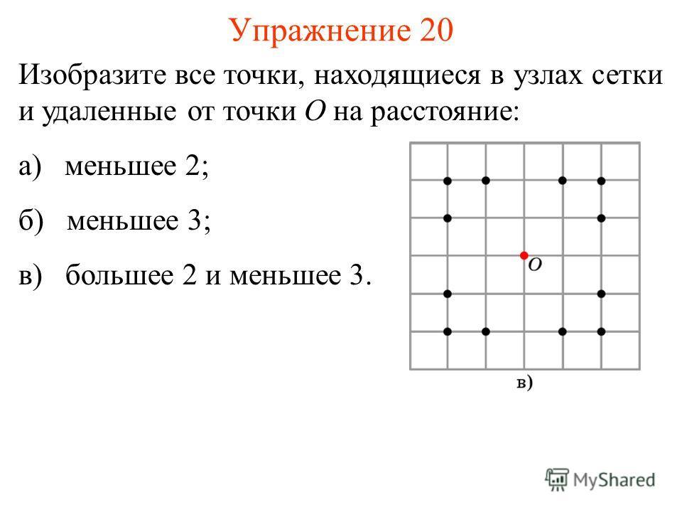 Упражнение 20 Изобразите все точки, находящиеся в узлах сетки и удаленные от точки O на расстояние: а) меньшее 2; б) меньшее 3; в) большее 2 и меньшее 3.