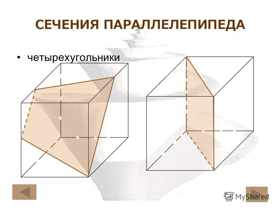 СЕЧЕНИЯ ПАРАЛЛЕЛЕПИПЕДА четырехугольники