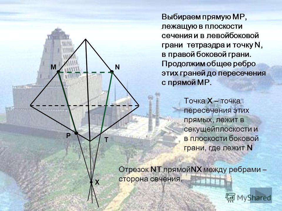 M P N Выбираем прямую MP, лежащую в плоскости сечения и в левойбоковой грани тетраэдра и точку N, в правой боковой грани. Продолжим общее ребро этих граней до пересечения с прямой MP. Точка Х – точка пересечения этих прямых, лежит в секущейплоскости