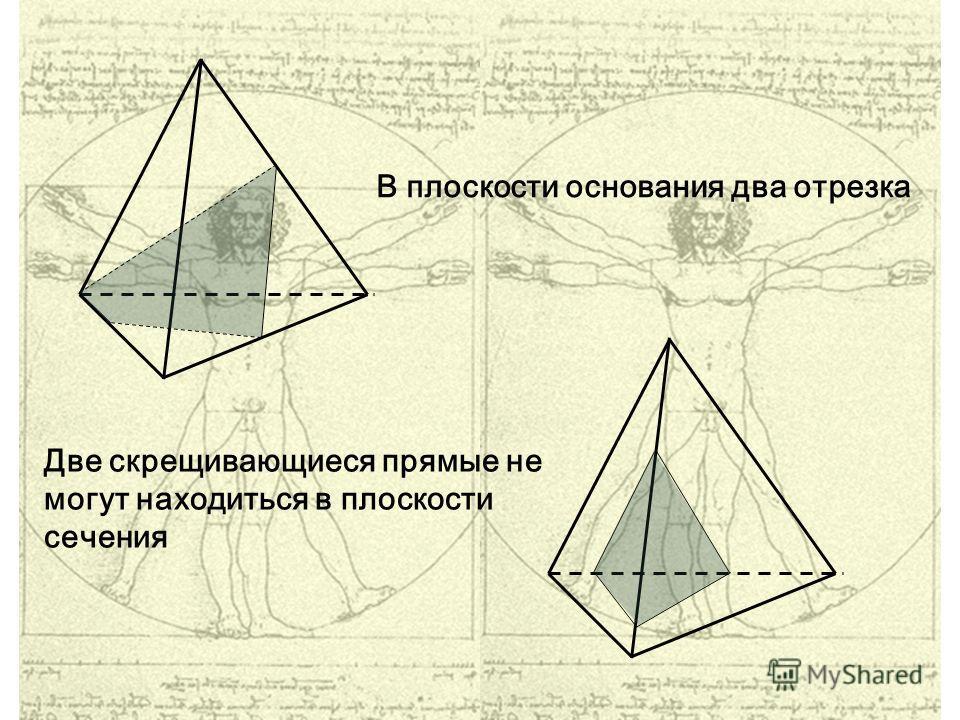 В плоскости основания два отрезка Две скрещивающиеся прямые не могут находиться в плоскости сечения