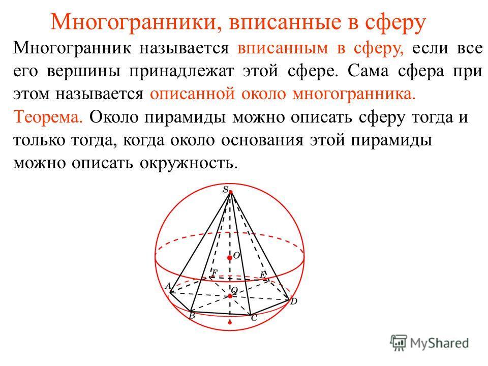 Многогранники, вписанные в сферу Многогранник называется вписанным в сферу, если все его вершины принадлежат этой сфере. Сама сфера при этом называется описанной около многогранника. Теорема. Около пирамиды можно описать сферу тогда и только тогда, к