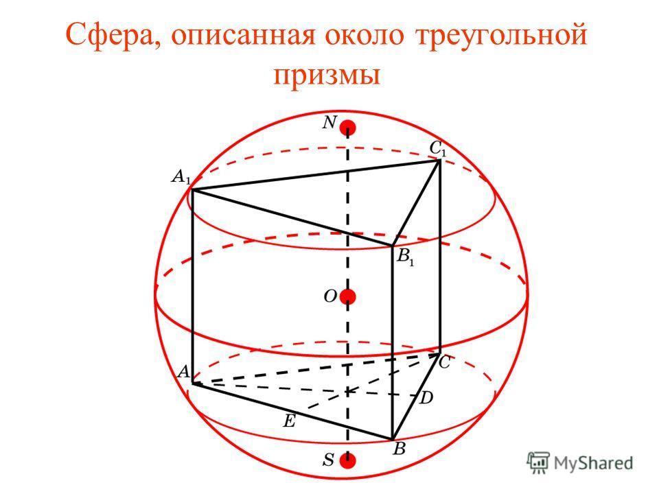 Сфера, описанная около треугольной призмы