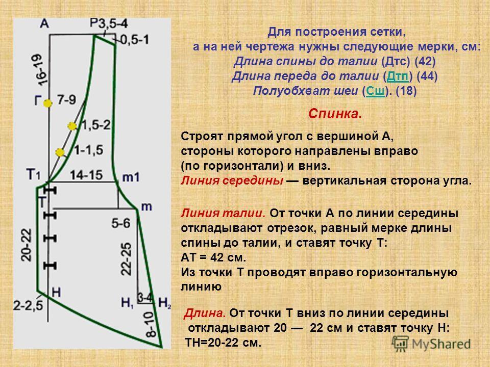 Для построения сетки, а на ней чертежа нужны следующие мерки, см: Длина спины до талии (Дтс) (42) Длина переда до талии (Дтп) (44)Дтп Полуобхват шеи (Сш). (18)Сш Спинка. Строят прямой угол с вершиной А, стороны которого направлены вправо (по горизонт