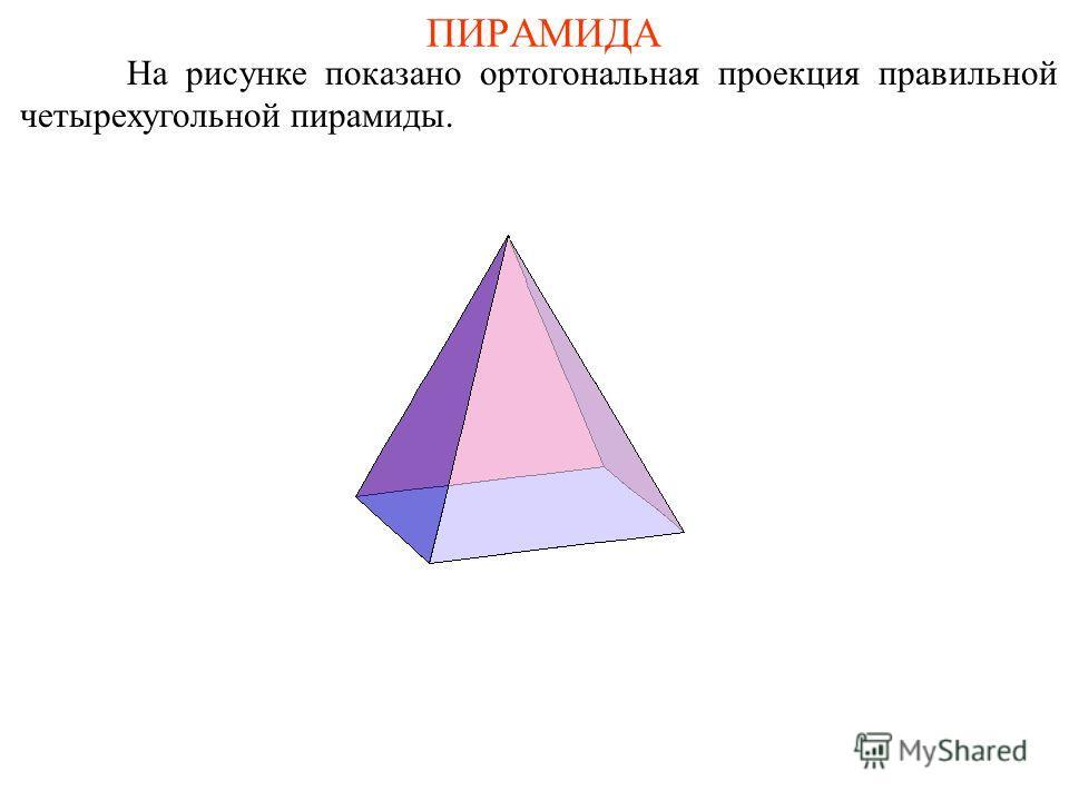 ПИРАМИДА На рисунке показано ортогональная проекция правильной четырехугольной пирамиды.
