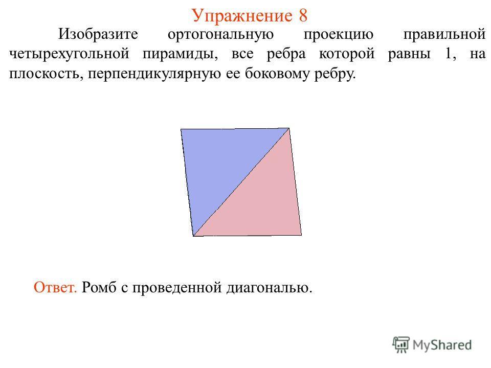 Упражнение 8 Изобразите ортогональную проекцию правильной четырехугольной пирамиды, все ребра которой равны 1, на плоскость, перпендикулярную ее боковому ребру. Ответ. Ромб с проведенной диагональю.