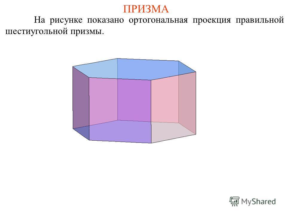 ПРИЗМА На рисунке показано ортогональная проекция правильной шестиугольной призмы.