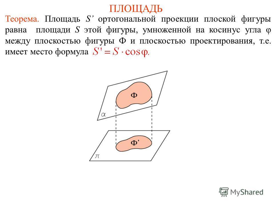 ПЛОЩАДЬ Теорема. Площадь S ортогональной проекции плоской фигуры равна площади S этой фигуры, умноженной на косинус угла φ между плоскостью фигуры Ф и плоскостью проектирования, т.е. имеет место формула