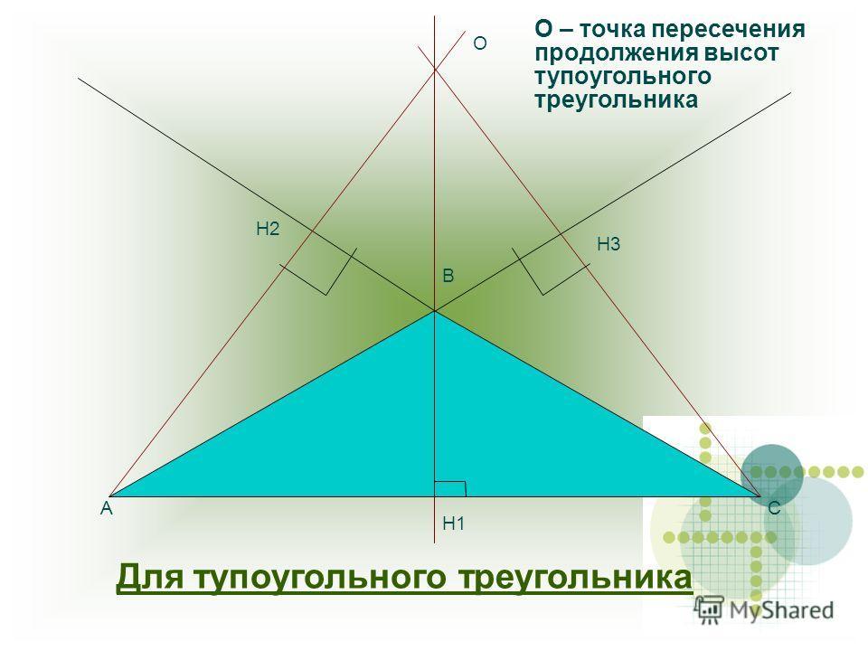 Для тупоугольного треугольника О А В С Н3 Н1 Н2 О – точка пересечения продолжения высот тупоугольного треугольника