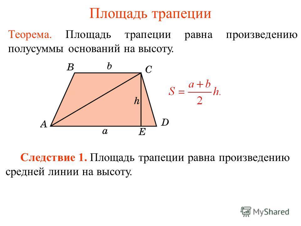 Площадь трапеции Теорема. Площадь трапеции равна произведению полусуммы оснований на высоту. Следствие 1. Площадь трапеции равна произведению средней линии на высоту.