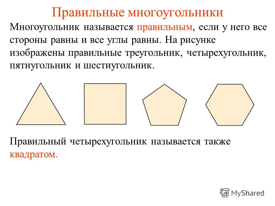 Правильные многоугольники Многоугольник называется правильным, если у него все стороны равны и все углы равны. На рисунке изображены правильные треугольник, четырехугольник, пятиугольник и шестиугольник. Правильный четырехугольник называется также кв