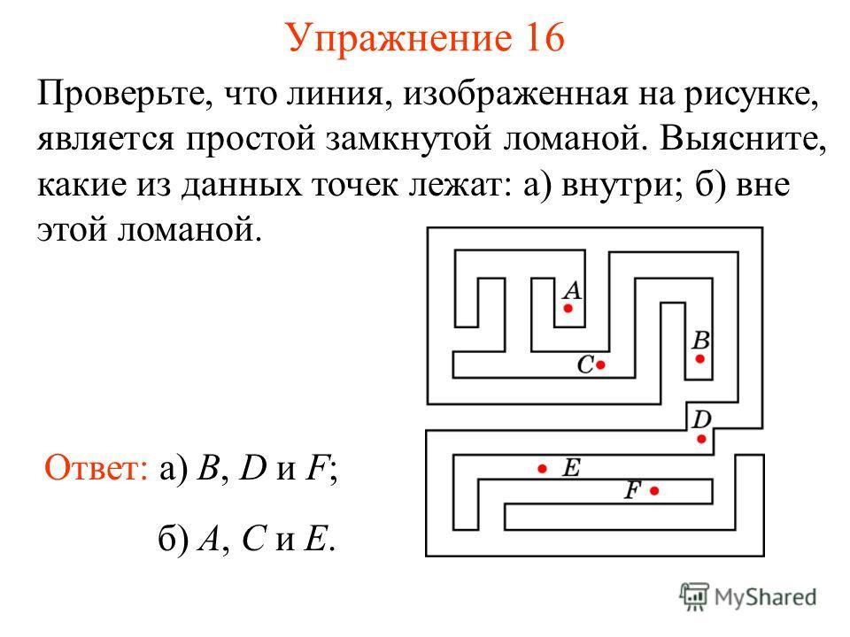 Упражнение 16 Проверьте, что линия, изображенная на рисунке, является простой замкнутой ломаной. Выясните, какие из данных точек лежат: а) внутри; б) вне этой ломаной. Ответ: а) B, D и F; б) A, C и E.