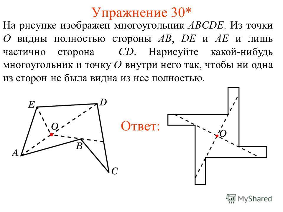 Упражнение 30* На рисунке изображен многоугольник ABCDE. Из точки O видны полностью стороны AB, DE и AE и лишь частично сторона CD. Нарисуйте какой-нибудь многоугольник и точку O внутри него так, чтобы ни одна из сторон не была видна из нее полностью
