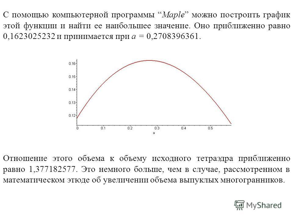 С помощью компьютерной программы Maple можно построить график этой функции и найти ее наибольшее значение. Оно приближенно равно 0,1623025232 и принимается при a = 0,2708396361. Отношение этого объема к объему исходного тетраэдра приближенно равно 1,