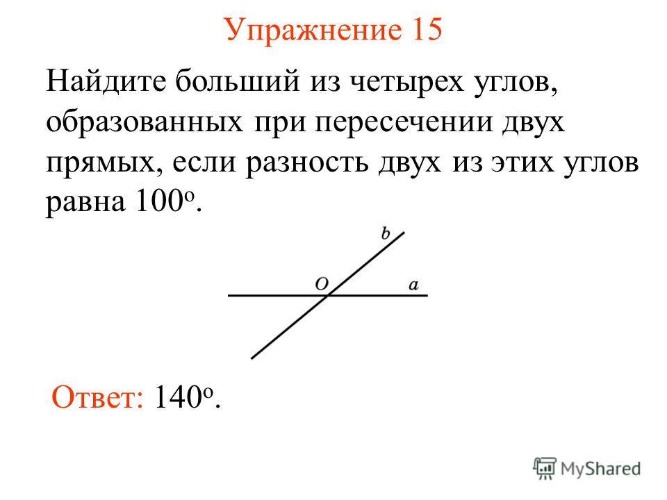 Упражнение 15 Найдите больший из четырех углов, образованных при пересечении двух прямых, если разность двух из этих углов равна 100 о. Ответ: 140 o.