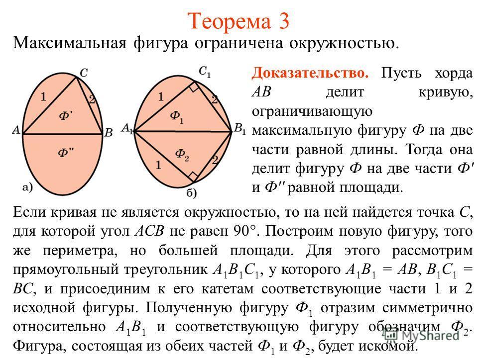 Теорема 3 Максимальная фигура ограничена окружностью. Доказательство. Пусть хорда АВ делит кривую, ограничивающую максимальную фигуру Ф на две части равной длины. Тогда она делит фигуру Ф на две части Ф' и Ф'' равной площади. Если кривая не является