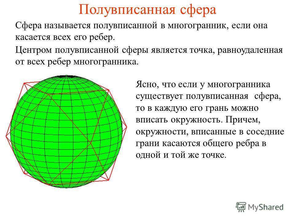 Полувписанная сфера Сфера называется полувписанной в многогранник, если она касается всех его ребер. Центром полувписанной сферы является точка, равноудаленная от всех ребер многогранника. Ясно, что если у многогранника существует полувписанная сфера