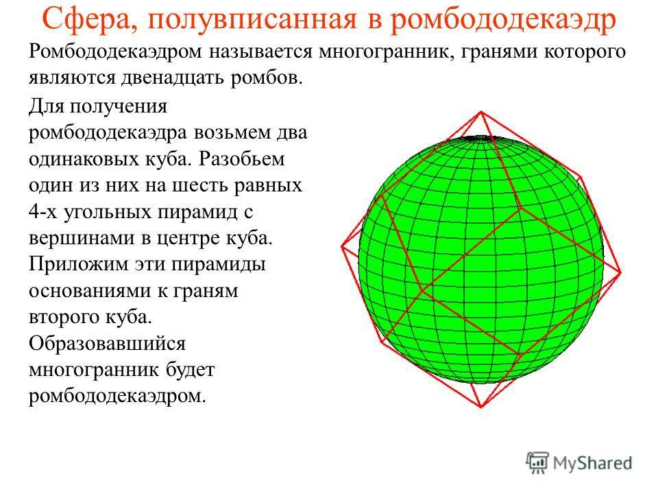 Сфера, полувписанная в ромбододекаэдр Ромбододекаэдром называется многогранник, гранями которого являются двенадцать ромбов. Для получения ромбододекаэдра возьмем два одинаковых куба. Разобьем один из них на шесть равных 4-х угольных пирамид с вершин