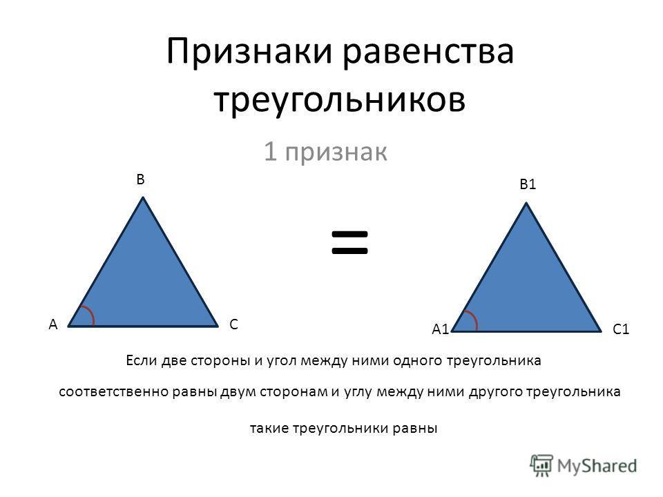 Признаки равенства треугольников 1 признак А А1 В С В1 С1 = Если две стороны и угол между ними одного треугольника соответственно равны двум сторонам и углу между ними другого треугольника такие треугольники равны