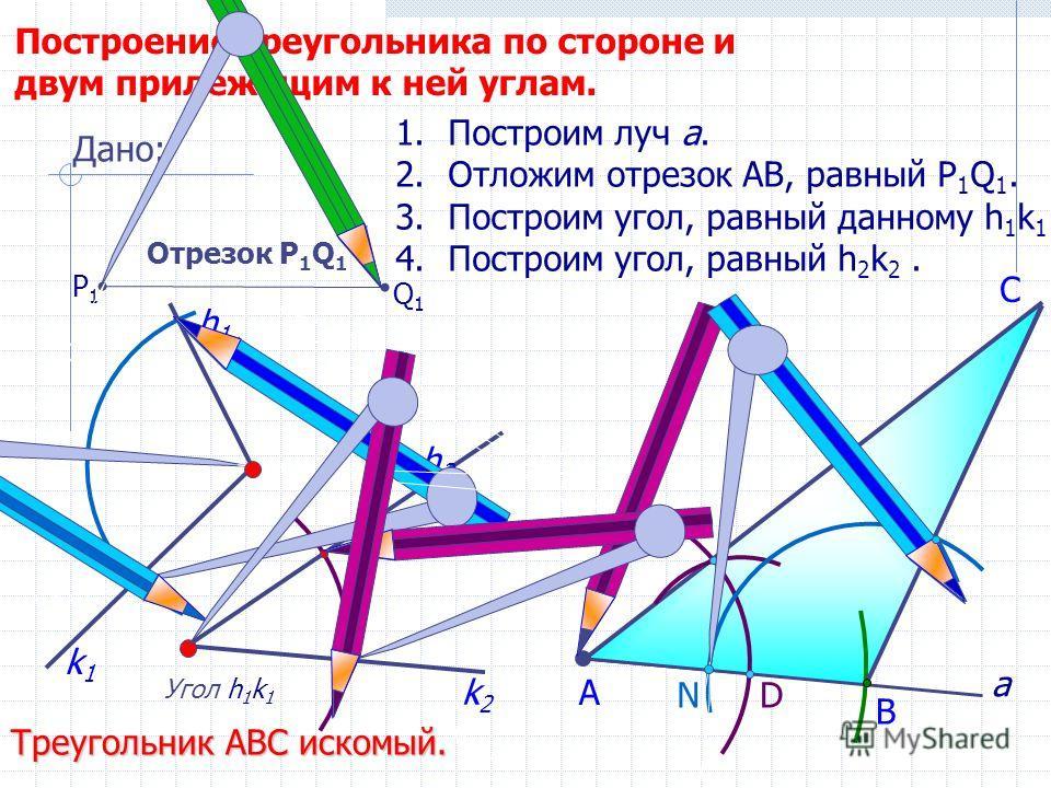 D С Построение треугольника по стороне и двум прилежащим к ней углам. Угол h 1 k 1 h2h2 1.Построим луч а. 2.Отложим отрезок АВ, равный P 1 Q 1. 3.Построим угол, равный данному h 1 k 1. 4.Построим угол, равный h 2 k 2. В А Треугольник АВС искомый. Дан