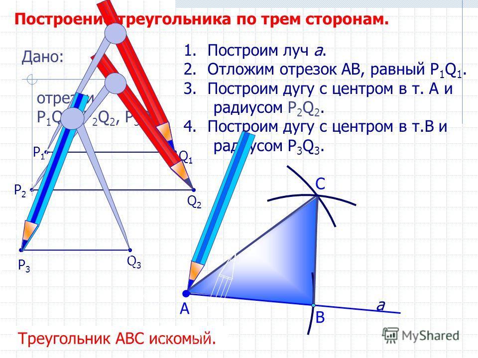 С 1.Построим луч а. 2.Отложим отрезок АВ, равный P 1 Q 1. 3.Построим дугу с центром в т. А и радиусом Р 2 Q 2. 4.Построим дугу с центром в т.В и радиусом P 3 Q 3. В А Треугольник АВС искомый. Дано: отрезки Р 1 Q 1, Р 2 Q 2, P 3 Q 3. Q1Q1 P1P1 P3P3 Q2
