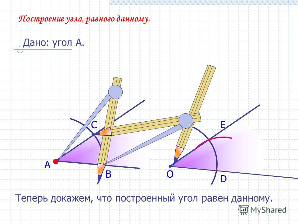 А В С Построение угла, равного данному. Дано: угол А. О D E Теперь докажем, что построенный угол равен данному.