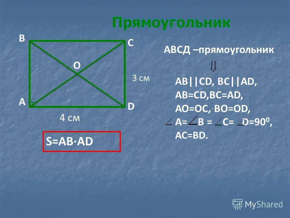 АВ||СD, ВС||А D, АВ=СD,ВС=АD, АО=ОС, ВО=ОD, А= В = С= D=90 0, АС=ВD. АВСД –прямоугольник А В С D О S=АВ·АD 4 см 3 см