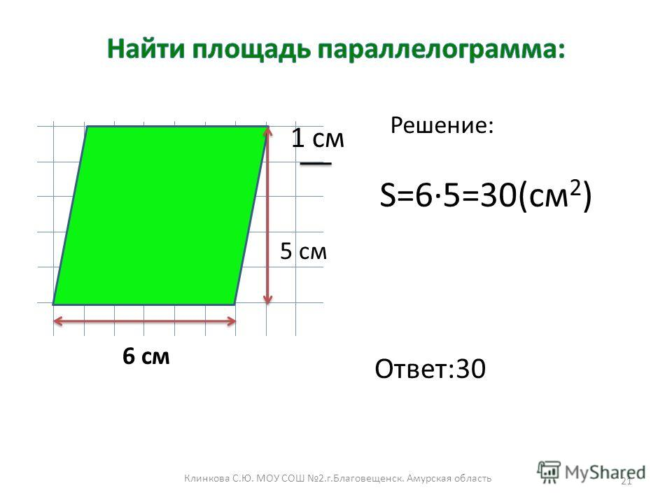 Клинкова С.Ю. МОУ СОШ 2.г.Благовещенск. Амурская область 21 1 см 6 см 5 см S=6·5=30(cм 2 ) Решение: Ответ:30