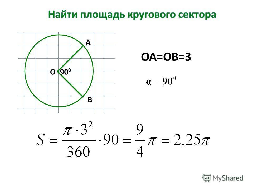 О А В 90 0 ОА=ОВ=3