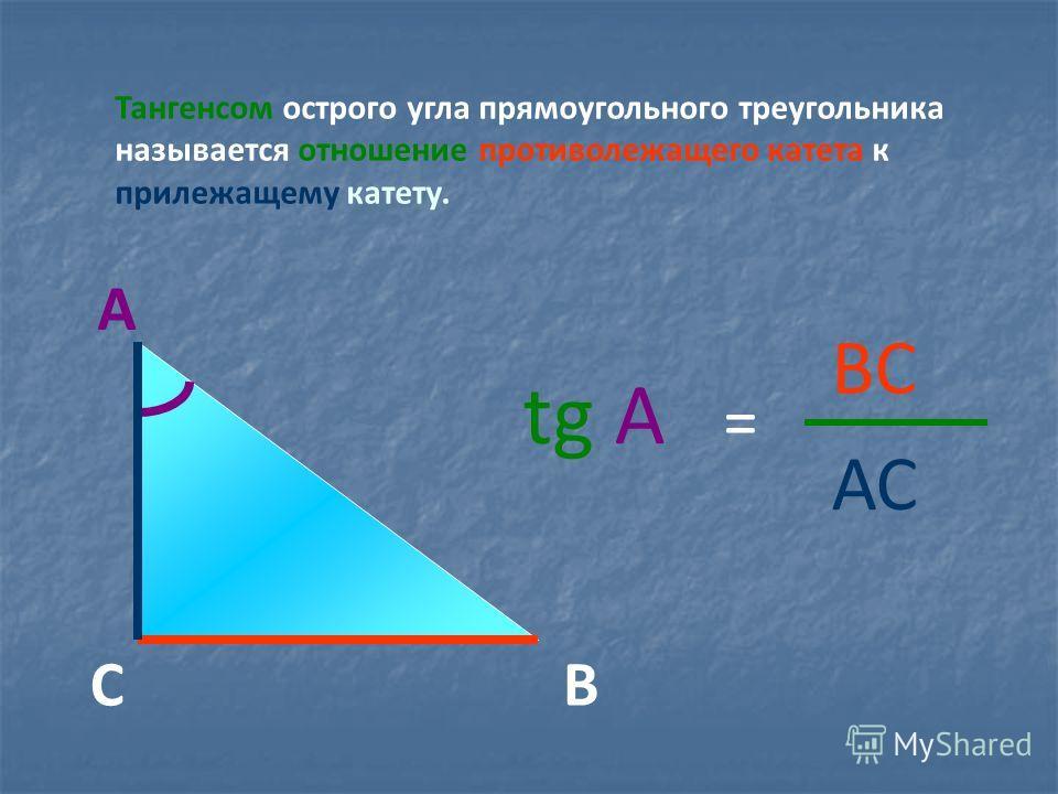 Тангенсом острого угла прямоугольного треугольника называется отношение противолежащего катета к прилежащему катету. tg А = ВС АС А СВ