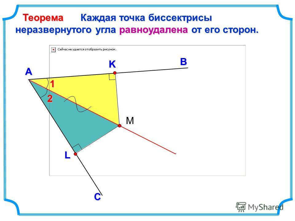 Каждая точка биссектрисы неразвернутого угла равноудалена от его сторон. В А Теорема С L K М 12
