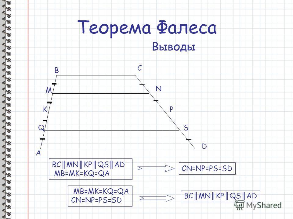 Теорема Фалеса Выводы A B M K Q C N P S D BC MN KP QS AD MB=MK=KQ=QA CN=NP=PS=SD MB=MK=KQ=QA CN=NP=PS=SD BC MN KP QS AD