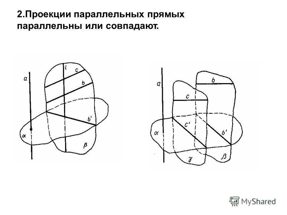 2.Проекции параллельных прямых параллельны или совпадают.