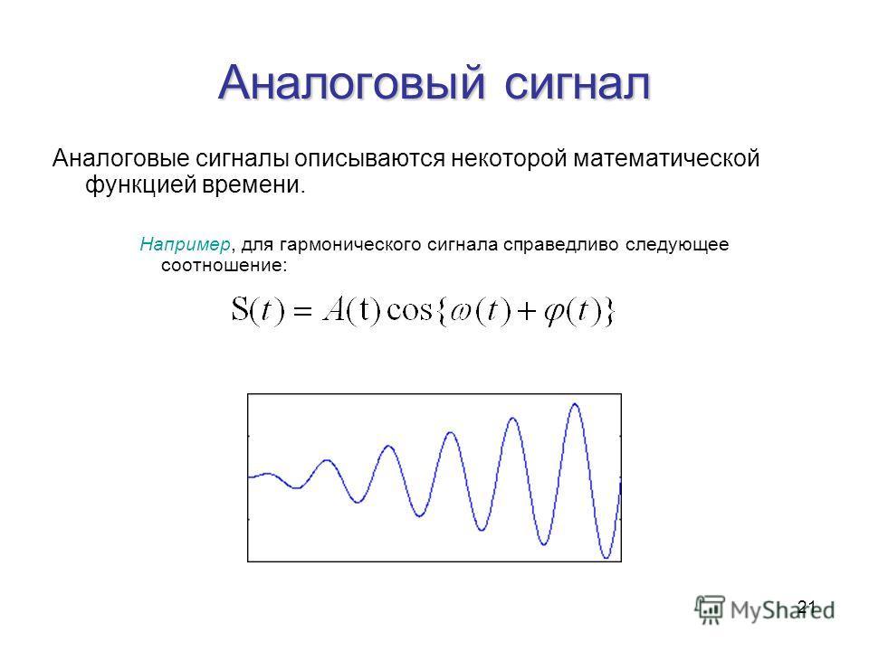 21 Аналоговый сигнал Аналоговые сигналы описываются некоторой математической функцией времени. Например, для гармонического сигнала справедливо следующее соотношение: