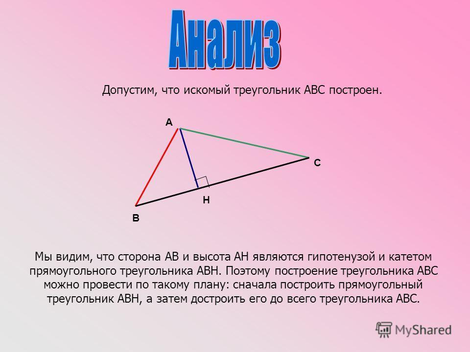 Допустим, что искомый треугольник АВС построен. Мы видим, что сторона АВ и высота АН являются гипотенузой и катетом прямоугольного треугольника АВН. Поэтому построение треугольника АВС можно провести по такому плану: сначала построить прямоугольный т