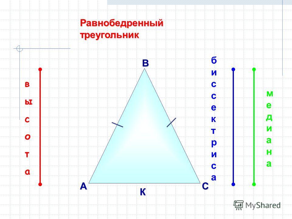 Равнобедренный треугольник ВАС К биссектрисабиссектриса высотавысота медианамедиана