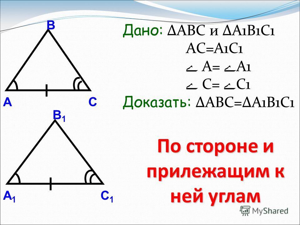 Дано: ΔABC и ΔА1B1C1 AC=A1C1 ے A= ے A1 ے С= ے С1 Доказать: ΔABC=ΔA1B1C1 По стороне и прилежащим к ней углам А В С А1А1 В1В1 С1С1