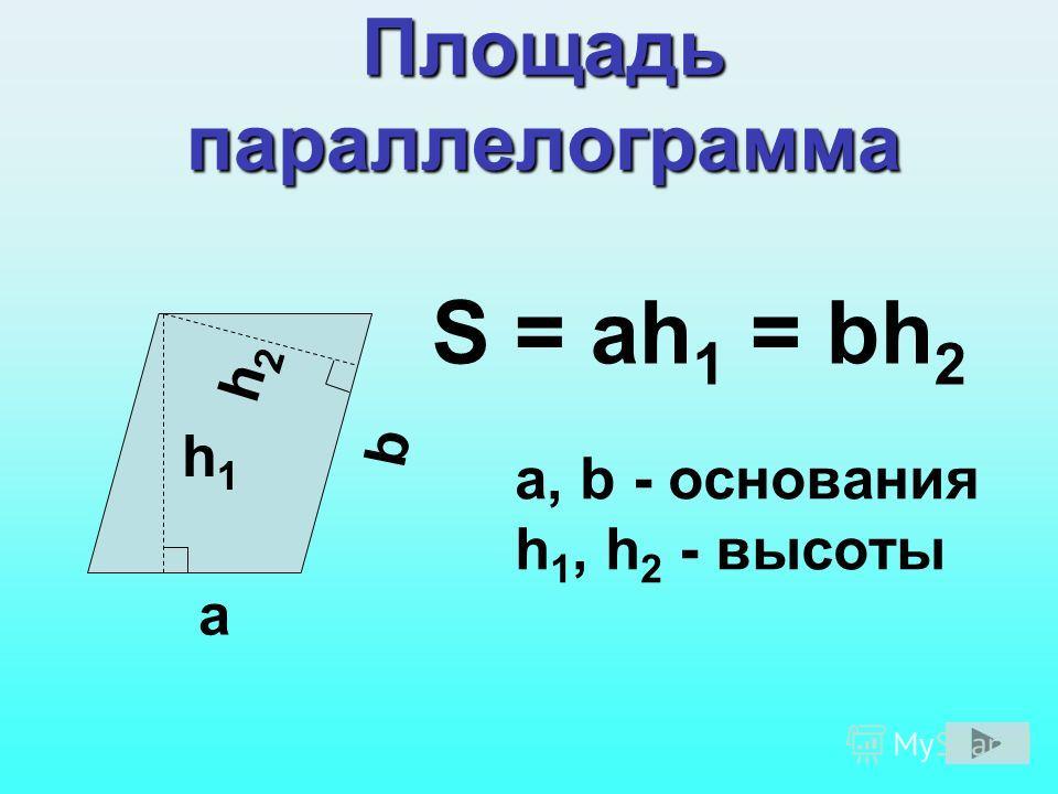 Площадь параллелограмма а, b - основания h 1, h 2 - высоты a h1h1 h2h2 b S = ah 1 = bh 2