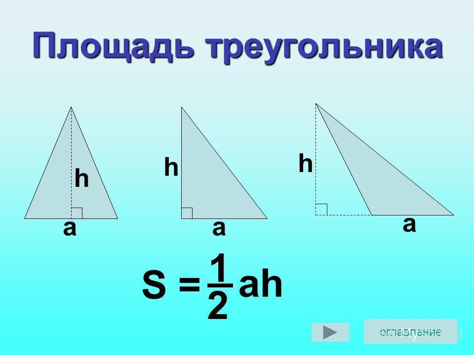 Площадь треугольника h a h a h a 1 2 ah S = оглавление