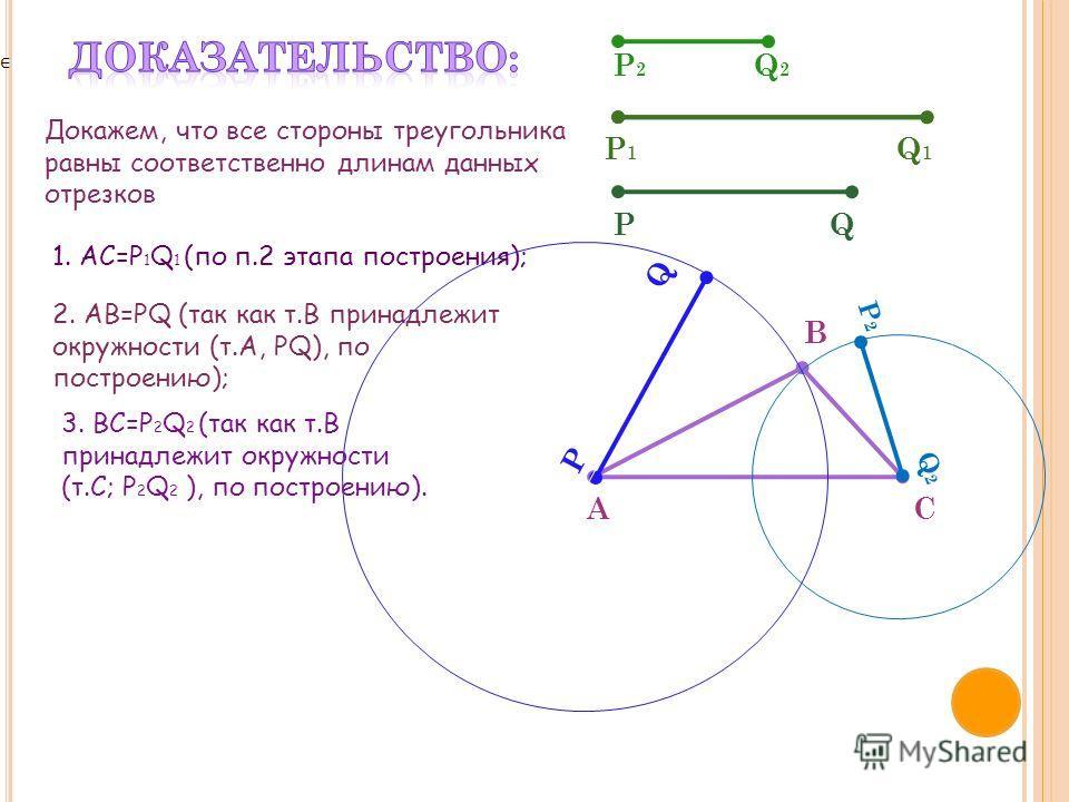 Докажем, что все стороны треугольника равны соответственно длинам данных отрезков P2P2 Q2Q2 P1P1 Q1Q1 PQ A B C 1. AC=P 1 Q 1 (по п.2 этапа построения); 2. AB=PQ (так как т.В принадлежит окружности (т.A, PQ), по построению); Q P 3. ВС=P 2 Q 2 (так как