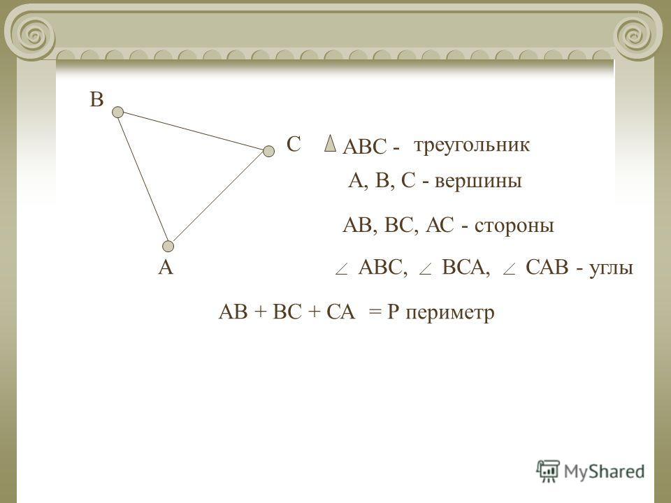 А В С АВС- треугольник А, В, С - вершины АВ, ВС, АС - стороны АВС,ВСА,САВ - углы АВ + ВС + СА= Р периметр